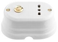 Oval - pulsante ottonato e presa polivalente in porcellana