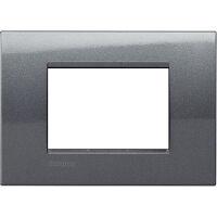 LivingLight - placca Metals Quadra in metallo 3 posti acciaio