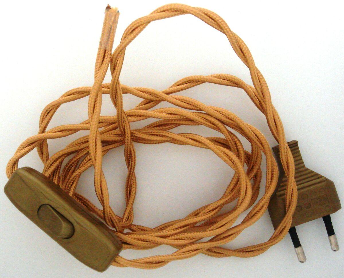 Cablaggio in treccia per illuminazione con spina e interruttore oro