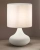 Lampada da tavolo 6504 bianca con paralume in stoffa