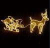 Figura luminosa per esterno renna con slitta natale led bianco caldo