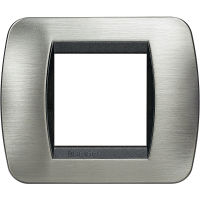 Living International - placca Speciali in metallo 2 posti acciaio spazzolato