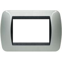 Living International - placca Metallic in metallo 3 posti alluminio chiaro