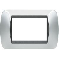Living International - placca Lucenti in metallo 3 posti cromo lucido