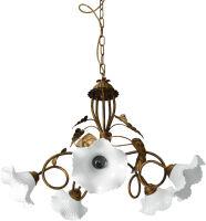 Lampadario 5 luci ORO - DUCATO con fazzoletto in porcellana ø 14