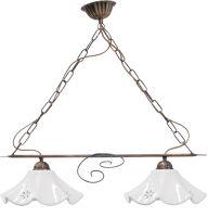 Lampadario 2 luci ALBA con campana in porcellana ø 27
