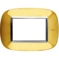 Axolute - placca ellittica Lucenti in metallo 3 posti colore oro lucido
