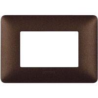 Matix - placca Textures in tecnopolimero 3 posti colore marrone caffe'