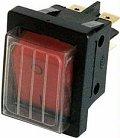 Interruttore bipolare luminoso rosso con coppetta paraspruzzi IP44 per elettrodomestici