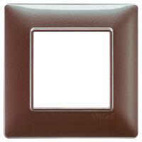 Plana - placca in tecnopolimero 2 posti marrone mecalizzato