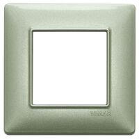 Plana - placca in metallo 2 posti verde metallizzato