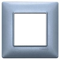Plana - placca in metallo 2 posti blu metallizzato