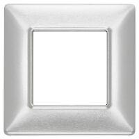 Plana - placca in metallo 2 posti alluminio spazzolato