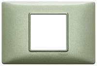 Plana - placca in metallo 2 posti centrali verde metallizzato