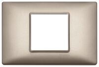 Plana - placca in metallo 2 posti centrali  nichel perlato