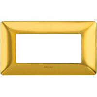Matix - placca Galvanics in tecnopolimero 4 posti colore oro satinato