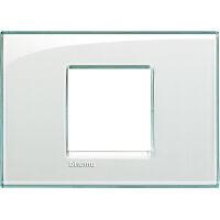 LivingLight - placca Kristall quadra in tecnopolimero 2 moduli centrali acquamarina