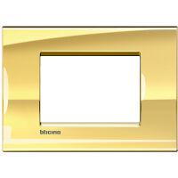 LivingLight - placca Metals quadra in metallo 3 posti oro freddo