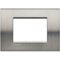 LivingLight - placca Naturalia quadra in metallo 3 posti acciaio