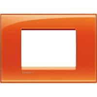 LivingLight - placca Deep quadra in tecnopolimero 3 posti arancio