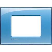 LivingLight - placca Deep quadra in tecnopolimero 3 posti azzurro
