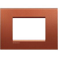 LivingLight - placca Silk quadra in metallo 3 posti brick