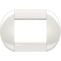 LivingLight - placca Neutri tonda in tecnopolimero 3 posti bianca