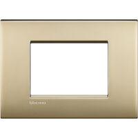 LivingLight Air - placca Lucenti in metallo 3 posti oro satinato