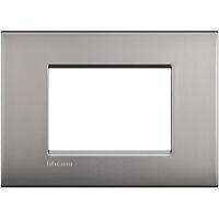 LivingLight Air - placca Lucenti in metallo 3 posti nichel satinato