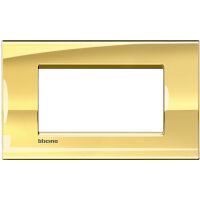 LivingLight - placca Metals quadra in metallo 4 posti oro freddo