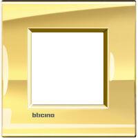 LivingLight - placca Metals quadra in metallo 2 posti oro freddo