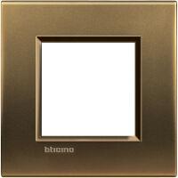 LivingLight - placca Metals quadra in metallo 2 posti bronzo