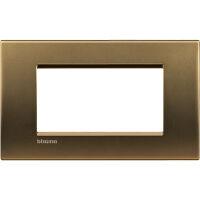 LivingLight - placca Metals quadra in metallo 4 posti bronzo