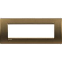 LivingLight - placca Metals quadra in metallo 7 posti bronzo