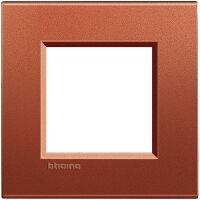 LivingLight - placca Silk quadra in metallo 2 posti brick