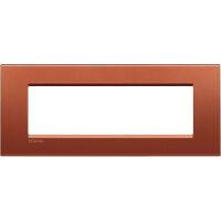 LivingLight - placca Silk quadra in metallo 7 posti brick