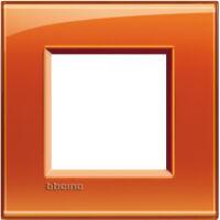 LivingLight - placca Deep quadra in tecnopolimero 2 posti arancio