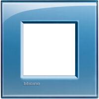 LivingLight - placca Deep quadra in tecnopolimero 2 posti azzurro