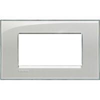 LivingLight - placca Kristall quadra in tecnopolimero 4 posti grigio ghiaccio
