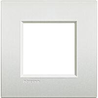 LivingLight Air - placca Neutri in metallo 2 posti bianco perla