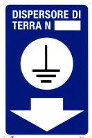 Cartello di terra con numero e freccia blu