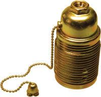 Portalampada E27 metallo filettato zincato giallo con interruttore a catenella