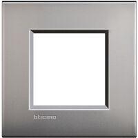 LivingLight Air - placca Lucenti in metallo 2 posti nichel satinato