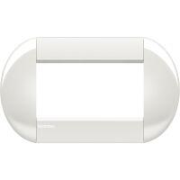 LivingLight - placca Neutri tonda in tecnopolimero 4 posti bianca