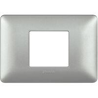 Matix - placca Metallics in tecnopolimero 2 posti colore silver