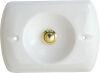 Placca in porcellana con pulsante ottonato