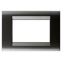 Playbus - placca in tecnopolimero 3 posti ardesia metallizzato