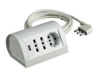 Desk Multioutlet 16A 2sk10/16A+P30+USB gr