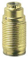 Portalampada E14 metallo filettato zincato ottone lucido