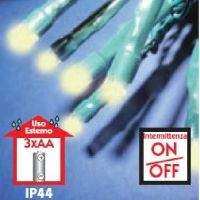 BatteryLED - milleluci natalizie ad intermittenza 100 LED bianco caldo a batteria